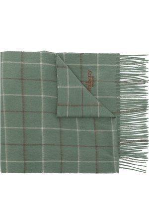 Mulberry Tri-colour Windowpane-Check lambswool scarf