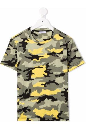 Dolce & Gabbana Boys Short Sleeve - Camouflage-print cotton T-shirt