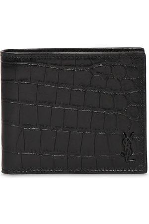 SAINT LAURENT Men Wallets - Ysl Croc Embossed Leather Wallet