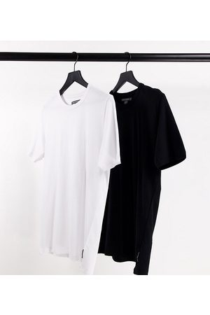 French Connection Tall 2 Pack crew neck t-shirt in black and white
