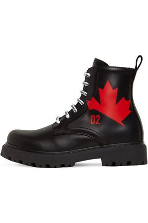 Dsquared2 Printed Leather Combat Boots