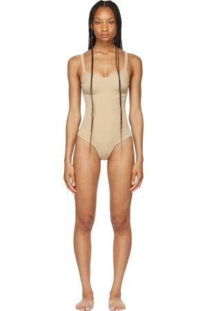 ISA BOULDER SSENSE Exclusive Taupe Bullseye One-Piece Swimsuit
