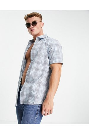 River Island Short sleeve muscle fit check shirt in
