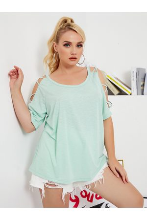 YOINS Plus Size Cold Shoulder Criss-Cross Short Sleeves Tee