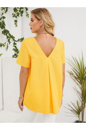 YOINS Pleated Round Neck Short Sleeves Backless Tee