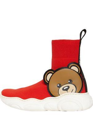 Moschino Logo Knit Sock Sneakers W/ Teddy Patch