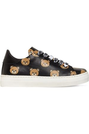 Moschino Girls Sneakers - All Over Bear Lace-up Leather Sneakers