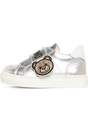 MOSCHINO Girls Sneakers - Bear Metallic Strap Leather Sneakers