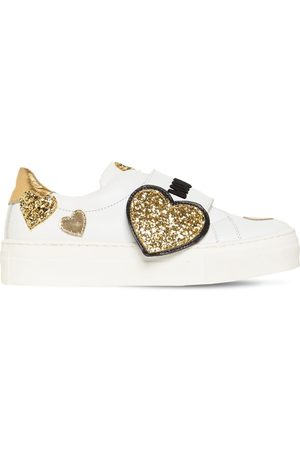 MOSCHINO Girls Sneakers - Glittered Hearts Strap Leather Sneakers