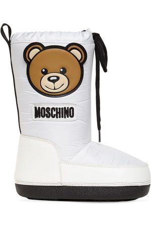 MOSCHINO Boys Snow Boots - Teddy Bear Patch Nylon Snow Boots