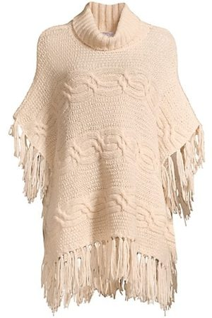 Peserico Cable-Kint Wool-Blend Poncho