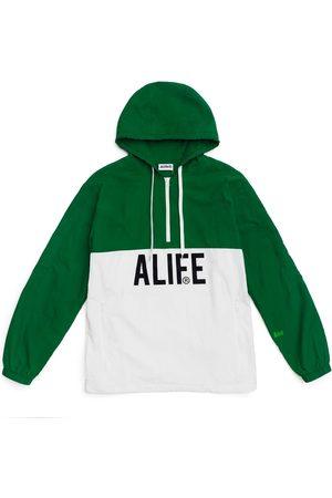 alife kickin Registered logo half-zip hoodie hunter white