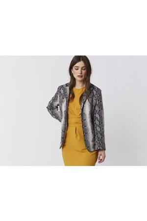 The Boutique Waltham Jayley Faux Suede Grey Snakeskin Jacket