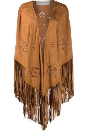 Golden Goose WOMEN'S G36WP137A1 BEIGE LEATHER PONCHO