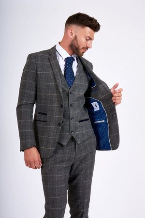 "Marc Darcy Scott Grey Tweed Blazer Mens Grey 34"" Chest"