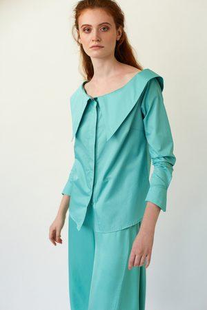 DALB ZENITH Wide-Neck Mint Poplin Shirt