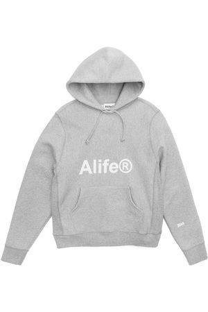 alife kickin Generic logo half-zip hoodie heather grey