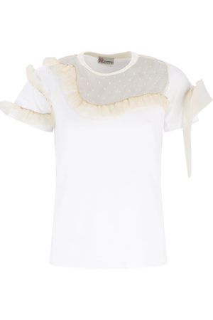 RED Valentino T-SHIRT WITH TULLE PANELS