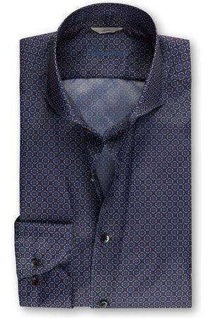 Stenströms Navy Medallion Print Slimline Shirt in Lightweight Fabric 7752218155151
