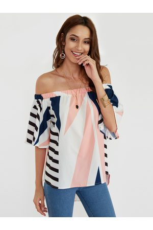 YOINS White Geometrical Off The Shoulder Short Sleeves Blouse