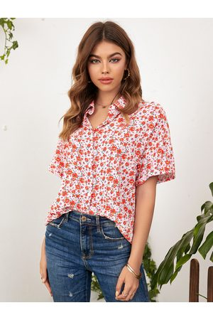 YOINS Calico Front Button Classic Collar Short Sleeves Blouse