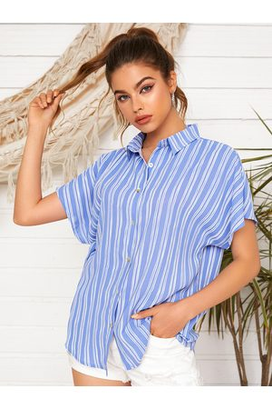 YOINS Women Short Sleeve - Striped Front Button Classic Collar Short Sleeves Blouse