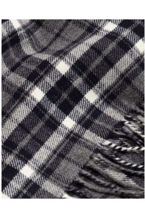 GANT Charcoal Melange Checked Twill Wool Scarf 9920135