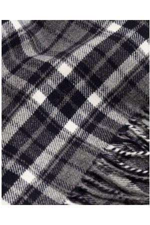 GANT Men Scarves - Charcoal Melange Checked Twill Wool Scarf 9920135