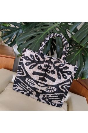 Yunion T Women Tote Bags - & Natural Large Silk Velvet Ikat Tote