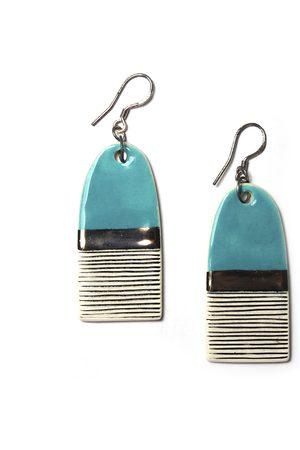 Isla Ibiza Clay Ceramic Dangle Ear-Rings - Light