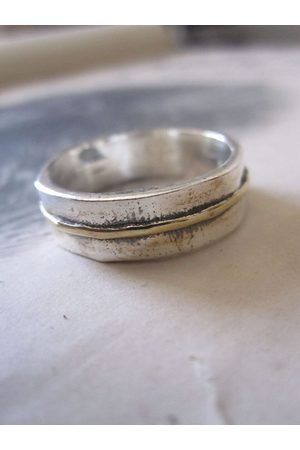 WINDOW DRESSING THE SOUL Rings - 925 Solid Silver and Gold Plated Stripe Ring