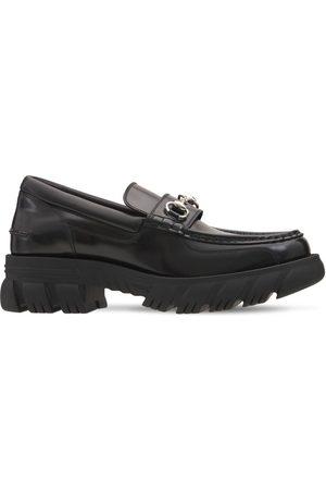 Gucci Men Loafers - Horsebit Leather Platform Loafers