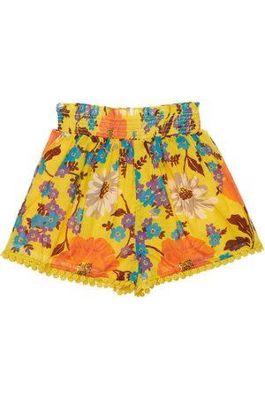 ZIMMERMANN Girls Shorts - Flower Print Cotton Shorts