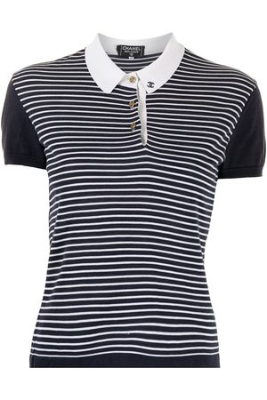 CHANEL 1990s logo-embroidered striped polo shirt