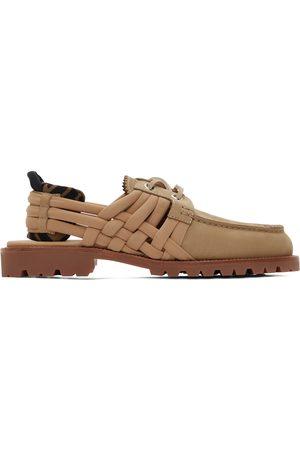 Men Loafers - Fendi Beige Nubuck 'FF' Loafers
