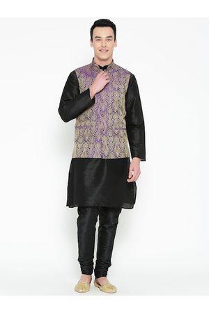 Mag Men Black Solid Kurta with Churidar with Nehru Jacket