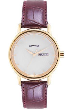 Sonata Men White Leather Textured Straps Analogue Watch 7134YL02