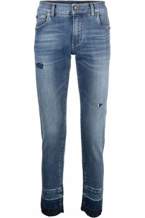 Dolce & Gabbana Ripped-detail slim-fit jeans