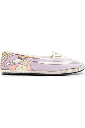 Emilio Pucci Vortici-print ballerina shoes