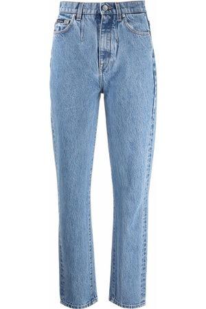 Dolce & Gabbana Women Straight - Logo patch straight-leg jeans