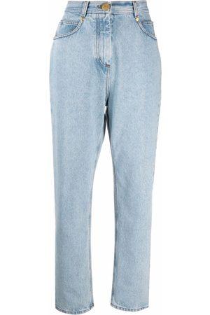 Balmain Women High Waisted - Logo patch high-waisted jeans