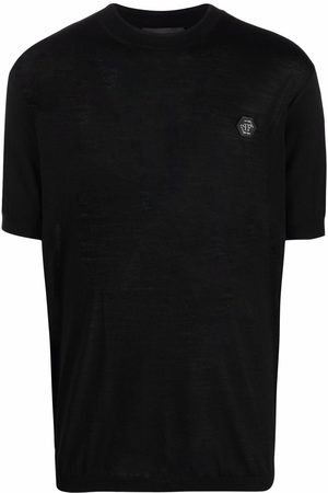 Philipp Plein Men Short Sleeve - Logo-plaque merino T-shirt