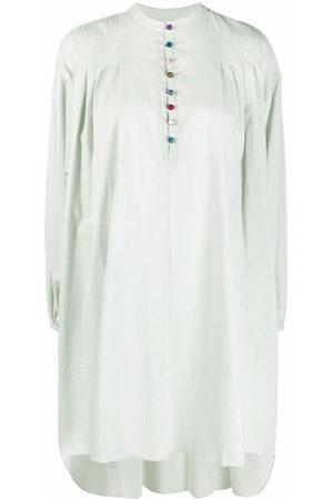 Azi.land Collarless long-sleeved shirt dress