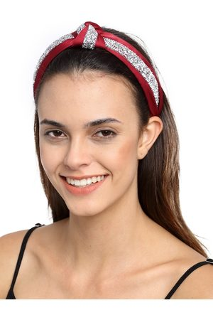 YouBella Hair Accessories - Red & Silver-Toned Embellished Hairband