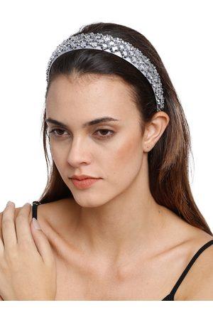 YouBella Women Hair Accessories - Women Grey Embellished Hairband
