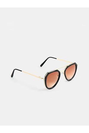 DukieKooky Unisex Kids Brown Lens & Black Aviator Sunglasses with UV Protected Lens 900304