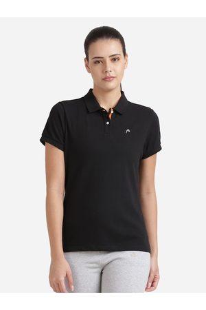 Head Women Black Pure Cotton Solid Polo Collar T-shirt