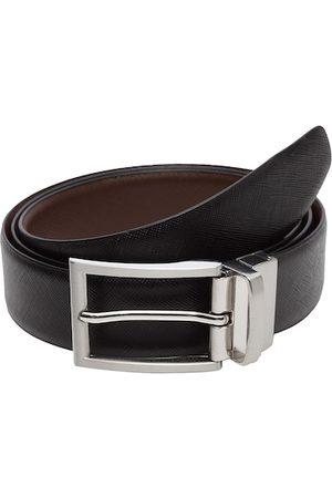 WELBAWT Men Belts - Men Black & Brown Textured Leather Slim Reversible Belt
