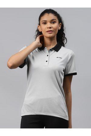 Alcis Women Grey Solid Polo Collar Slim Fit T-shirt