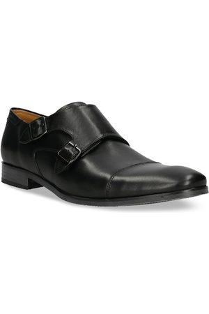 Bugatti Men Black Solid Leather Formal Monk Shoes